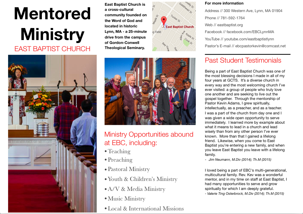 Mentored Ministry – East Baptist Church